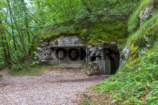 Entrance of Upper Military connection Tunnel between Fortress Kluze and Fort Hermann. Mining Tunnel for Izonso Front in Bovec, Gorizia, Slovenia.