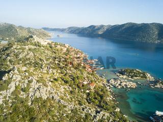 Aerial View Kalekoy Village Kekova Island Turkey