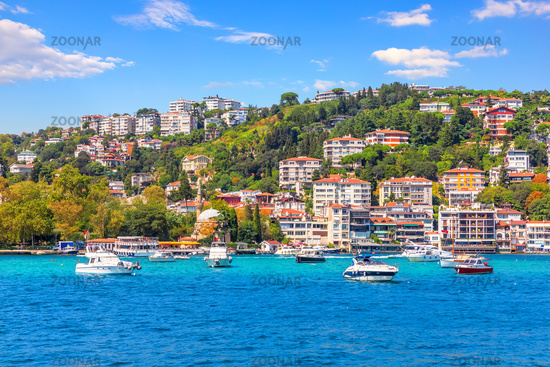Bebek district of Istanbul, beautiful houses on the coast of the Bosphorus strait