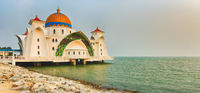 The Melaka Straits Mosque on water. Panorama