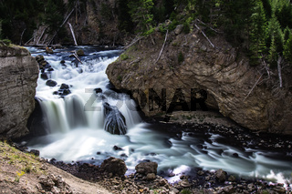 firehole river and waterfalls in yellowstone wyoming
