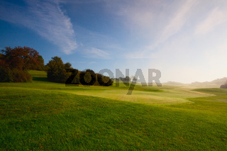 On the golf course in sunny day-