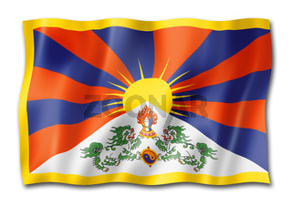 Tibetan flag isolated on white