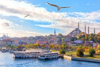 Eminonu pier and the Suleymaniye Mosque in Istanbul, Turkey