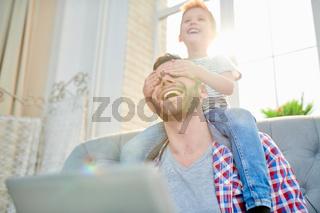 Enjoying Sunday with Cheerful Dad
