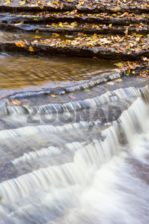 Water flowing over shale stone
