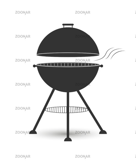 Icon grill with a grate for cooking meat on the coals. Flat design.