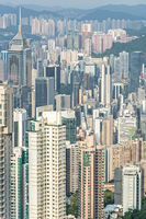 Vertical shot of the skyline of Hong Kong