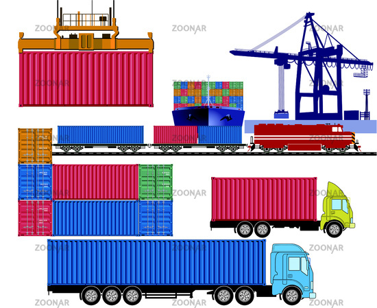 Commercial port with freight train, truck and container ship