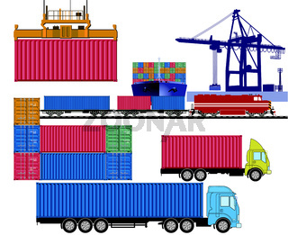 Container Transport Logistig.eps