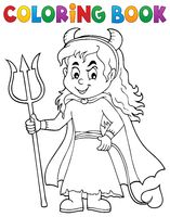 Coloring book girl in devil costume 1