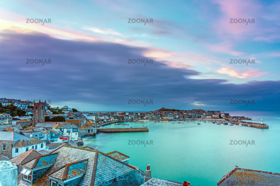 The beautiful seaside town of St. Ives in Cornwall, England, at dawn
