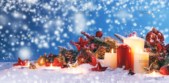 Christmas composition on snow
