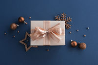 Christmas gift on blue background