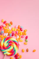Sweet jelly beans and lollipop.