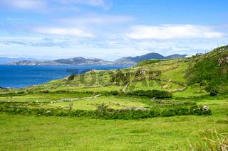 Landscape view in West Kerry, Beara peninsula in Ireland