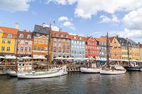 Famous Nyhavn district in Copenhagen, Denmark