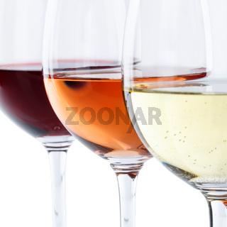 Wein Gläser Weingläser Weißwein Rotwein Rose Quadrat freigestellt Freisteller