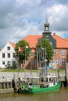 Toenning at Eider River on Eiderstedt peninsula,North Frisia,Schleswig Holstein,Germany