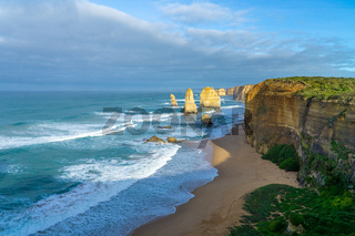 The Twelve Apostles are limestone rocks up to 60 metres high, standing in the sea