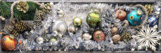 christmas decoration banner with colored christmas glass balls