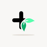 Pharmacy cross with leaves. Icon with shadow on a beige background. Medicine vector illustration