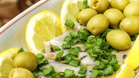 Herring with olives and lemons