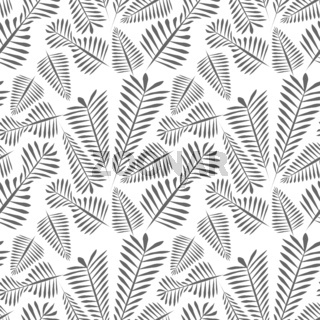 Seamless pattern of gray simple leaves - monochrome