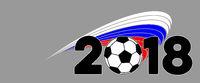 Russland Banner Fußball WM 2018 mit Flagge