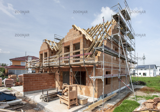 construction site of new build residential house