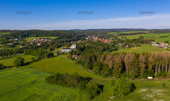 Aerial photos from the Harz mountains village of Güntersberge