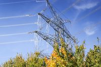 Pylons of high-voltage power lines