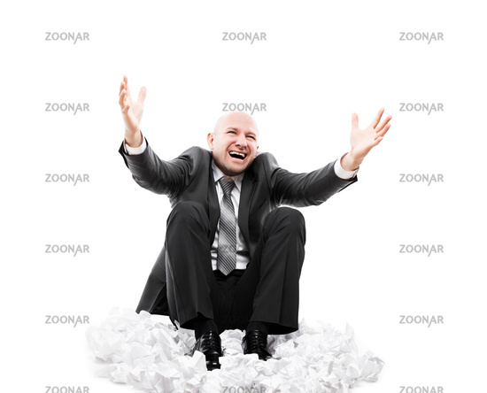Loud shouting or screaming tired stressed businessman gesturing raised hands