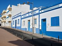 Nice blue and white houses in Albufeira in Portugal