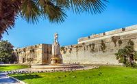 In Piazza Filippo Bottazzi, in front of the castle of Charles V. Lecce. Puglia. Italy.