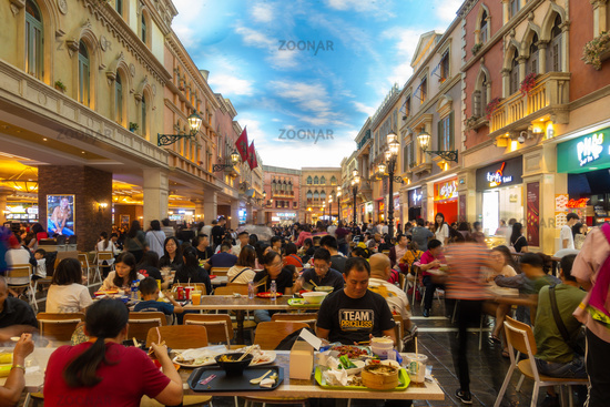 October 31, 2019: MACAU, CHINA - Interior of the Food Court at the Venetian Hotel and Casino, Largest Supercomplex in the World