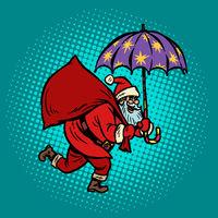 Santa Claus with star umbrella, magical night. Christmas and New year