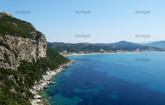 View to the bay of Agios Georgios Pagon, Corfu, Greece