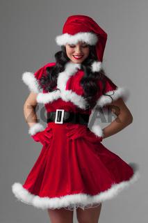 Woman in Santa Claus clothes