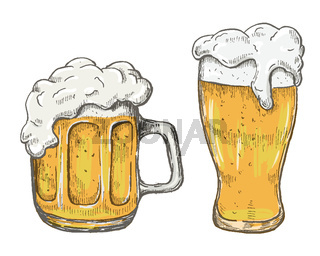 Vector hand drawing beer mug in white background