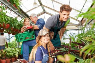Mitarbeiter im Gartencenter bei der Pflanzenpflege