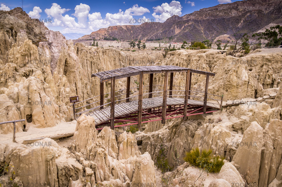 Geological formations in Moon Valley Valle de la Luna in La Paz, Bolivia