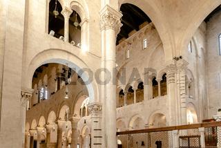 Bari, Italy - March 10, 2019: Interior of the minor basilica of San Nicolas de Bari.