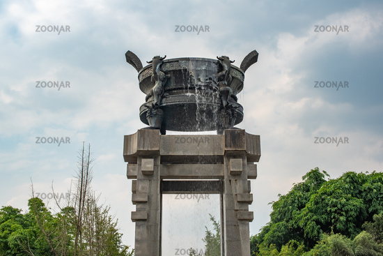 Fountain with a chinese quadripod in HuanHuaXi park