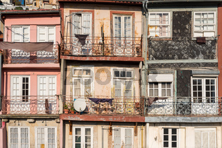 Typical old townhouses of Portuguese architectural style in Porto