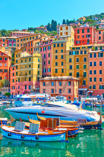 Boats and yachts in the port of Camogli town