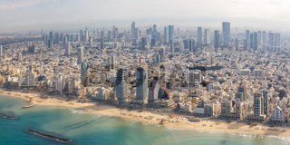 Tel Aviv skyline panorama Israel beach aerial view city sea skyscrapers
