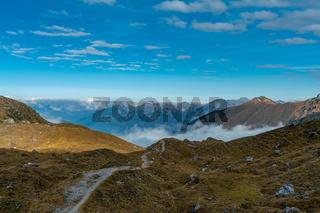 Overlooking the Senders valley to the Innsbruck mountains Inntalkette