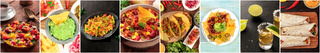 Mexican Food Collage. A panorama of various tex-mex dishes, Latin American cuisine banner