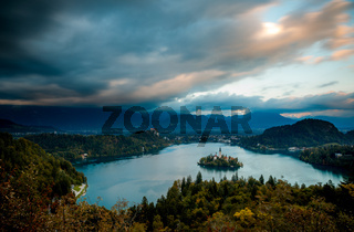 Bled, Slovenia - Panoramic aerial view of Lake Bled with Church of the Assumption of Maria